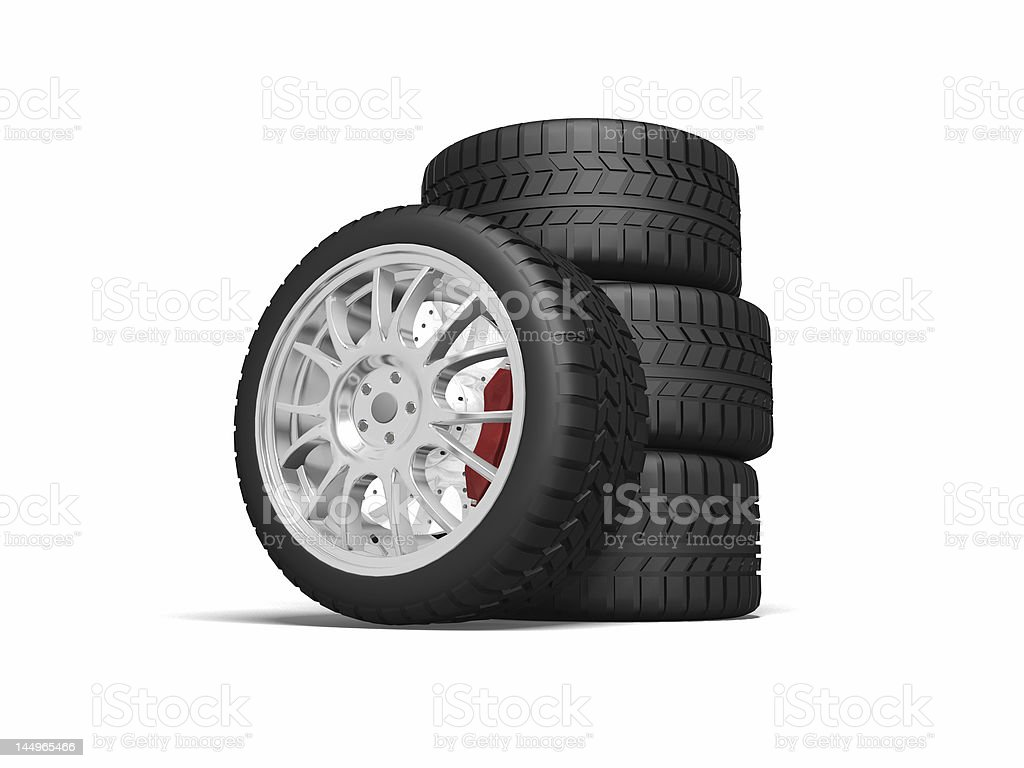 Cartoon animated stack of tires isolated on white background stock photo