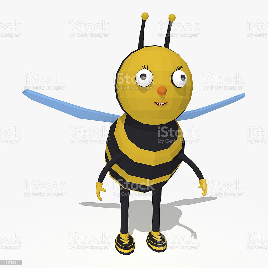 Cartoon bee low poly style stock photo