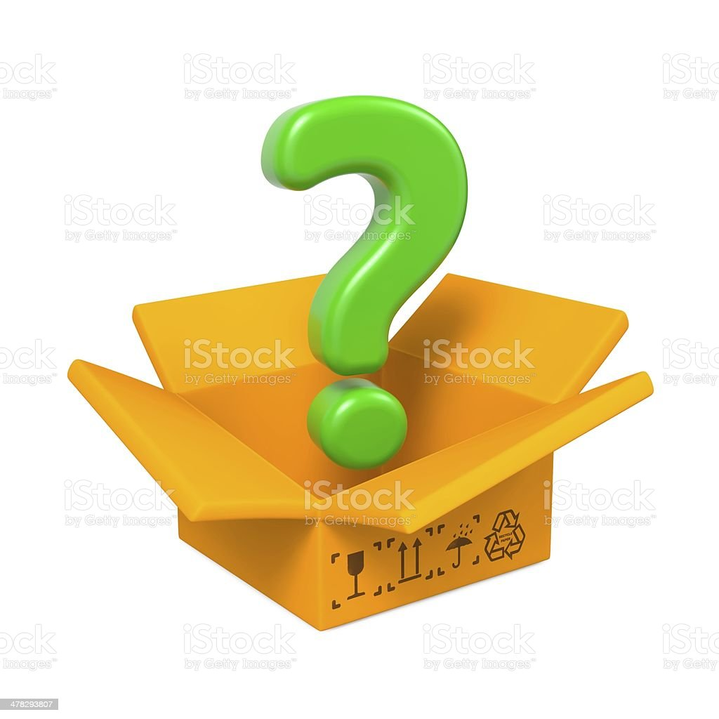 Cartoon Box with Question Mark. Isolated on White. royalty-free stock photo