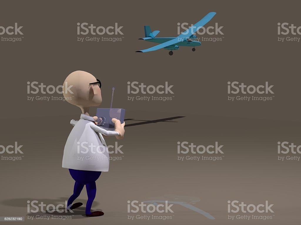 cartoon character flying a rc aircraft stock photo
