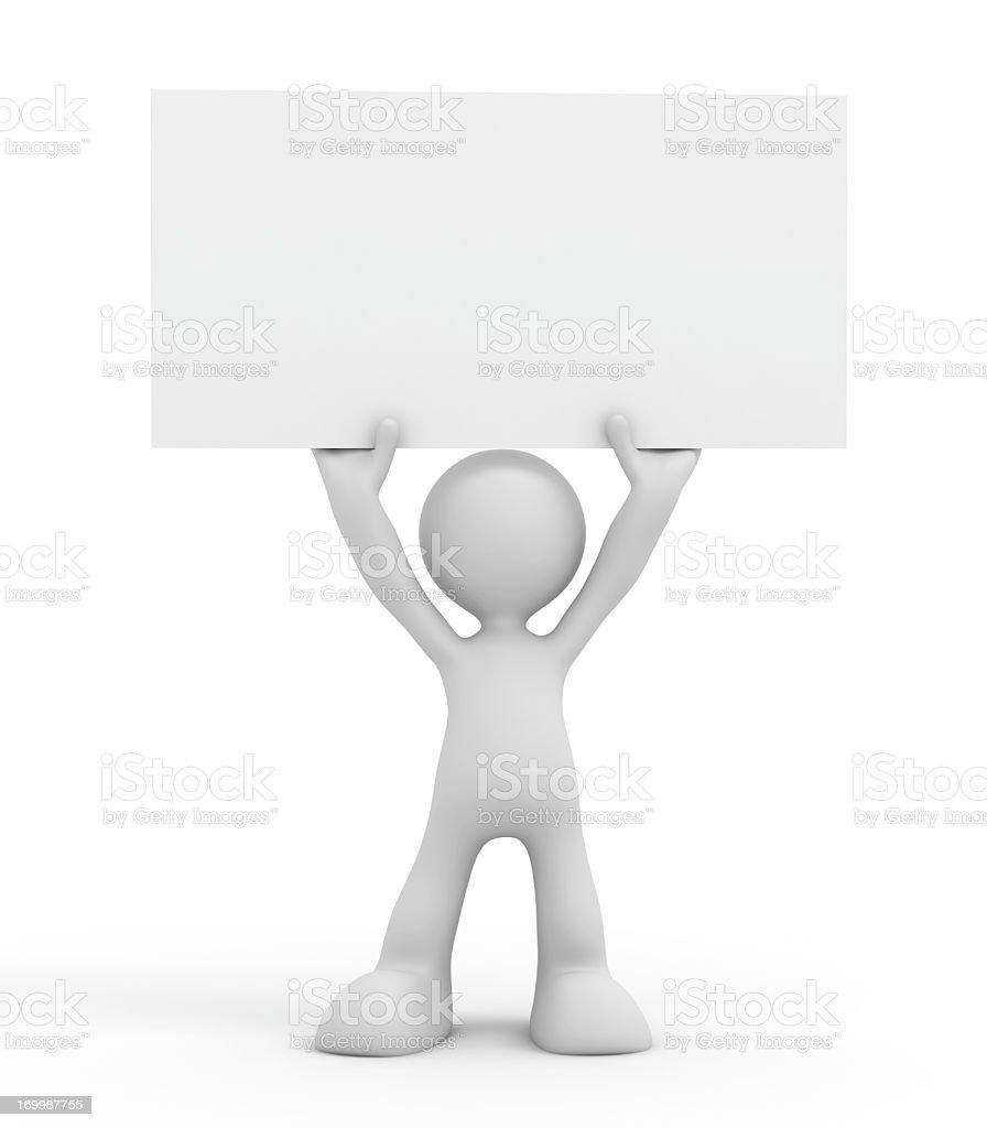 cartoon character holding a blank card stock photo