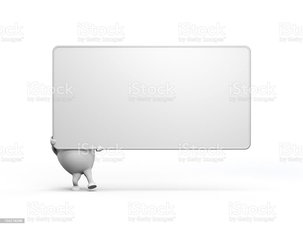 Cartoon Character Holidng a Large Blank Sign stock photo