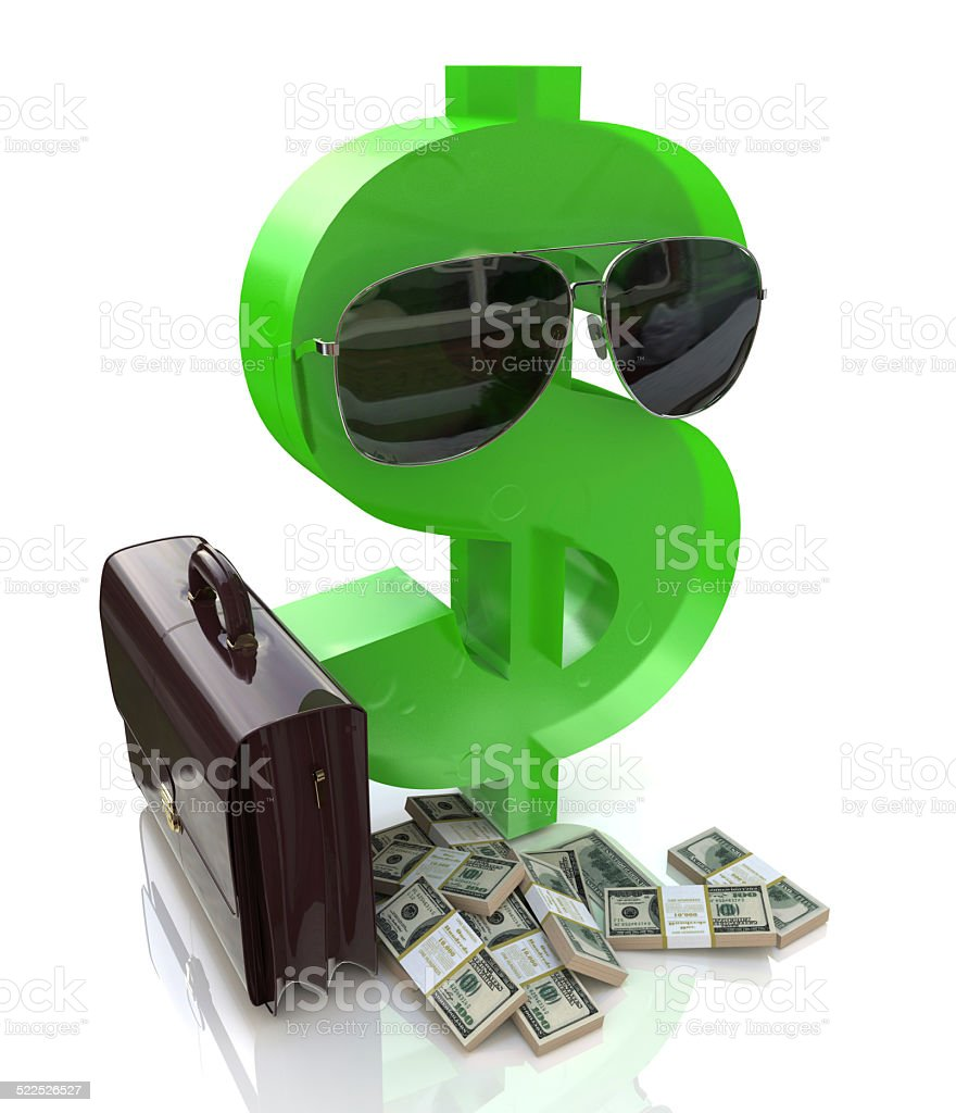Cartoon Character of dollar with glasses and a suitcase stock photo