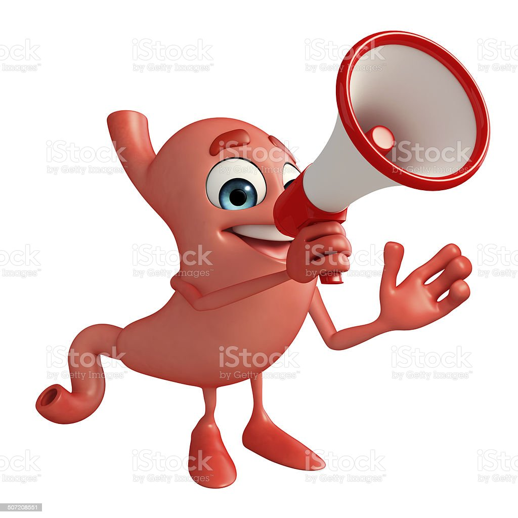 Cartoon Character of stomach with loudspeaker royalty-free stock photo