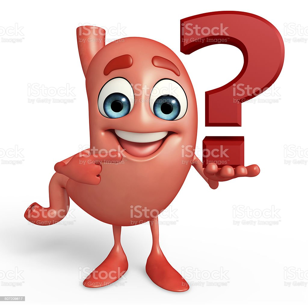 Cartoon Character of stomach with question mark royalty-free stock photo