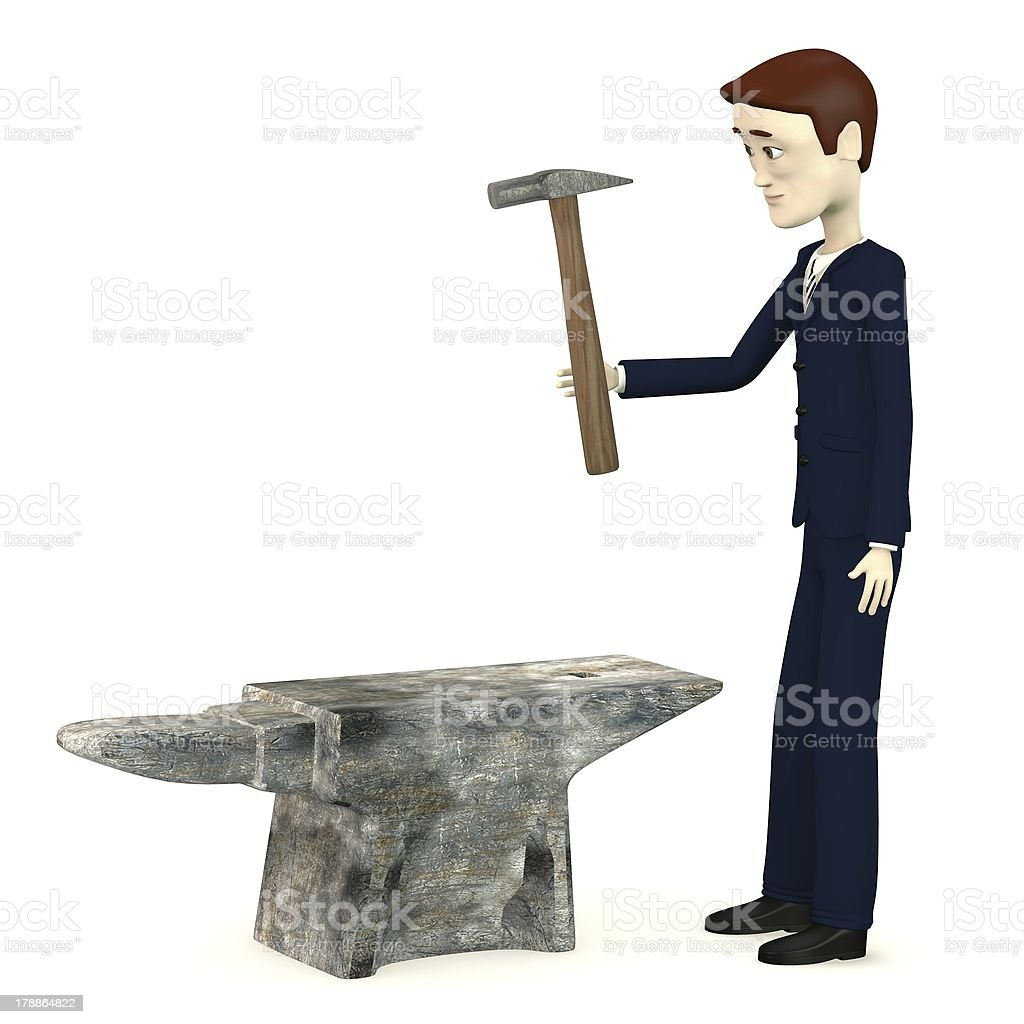 cartoon character with anvil and hammer royalty-free stock photo