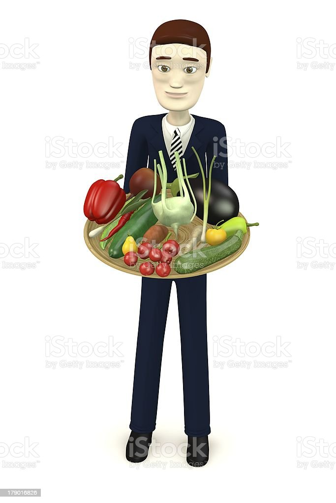 cartoon character with bowl of vegetable royalty-free stock photo