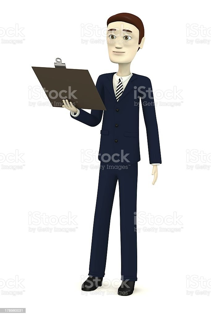 cartoon character with cliboard royalty-free stock photo