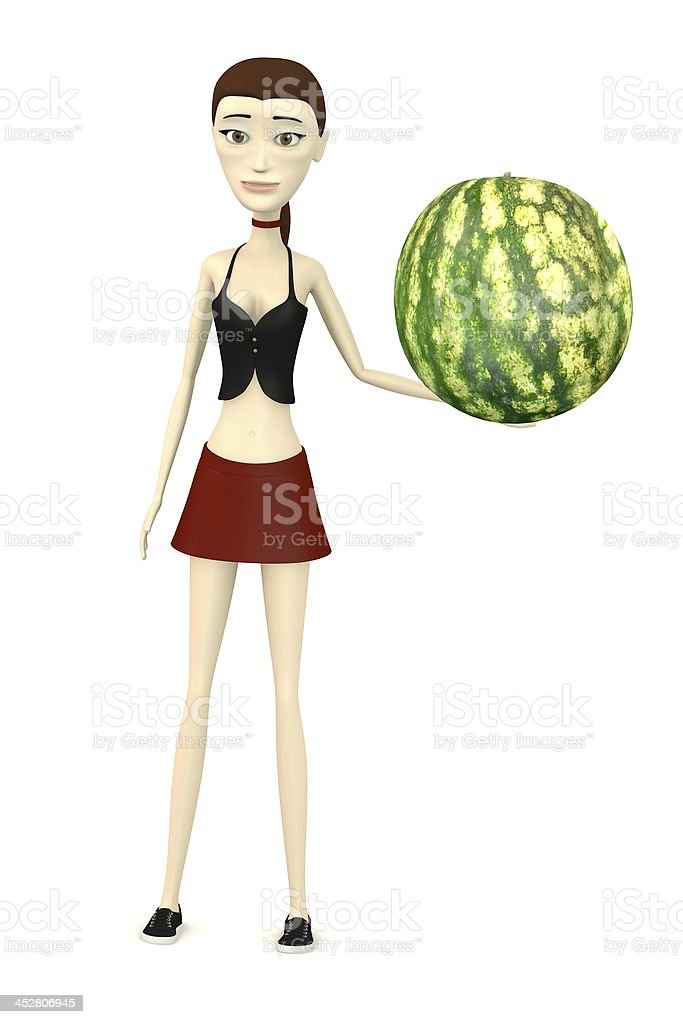 cartoon character with melon stock photo