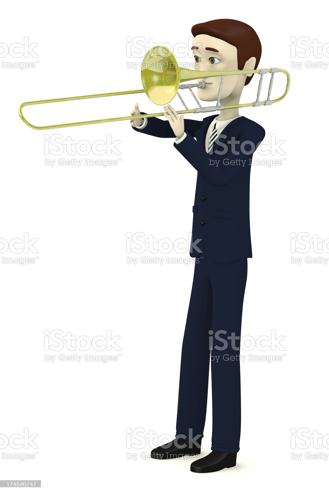 cartoon character with trumpet royalty-free stock vector art