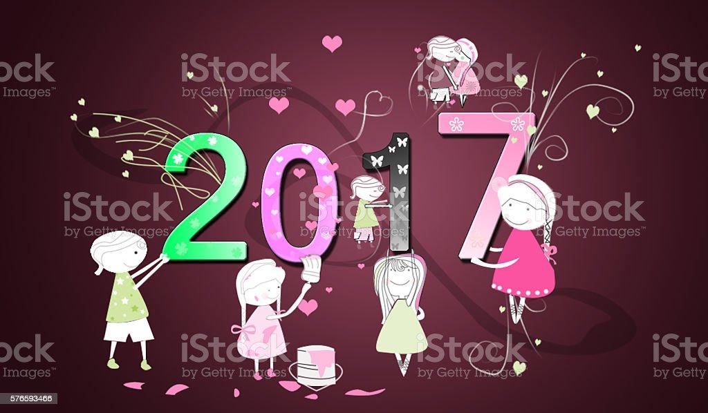 Cartoon children happy with 2017 year
