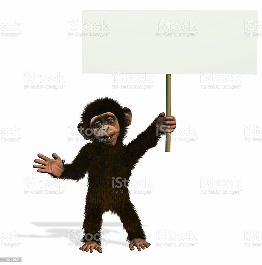 Cartoon Chimp Holding Blank Sign stock photo