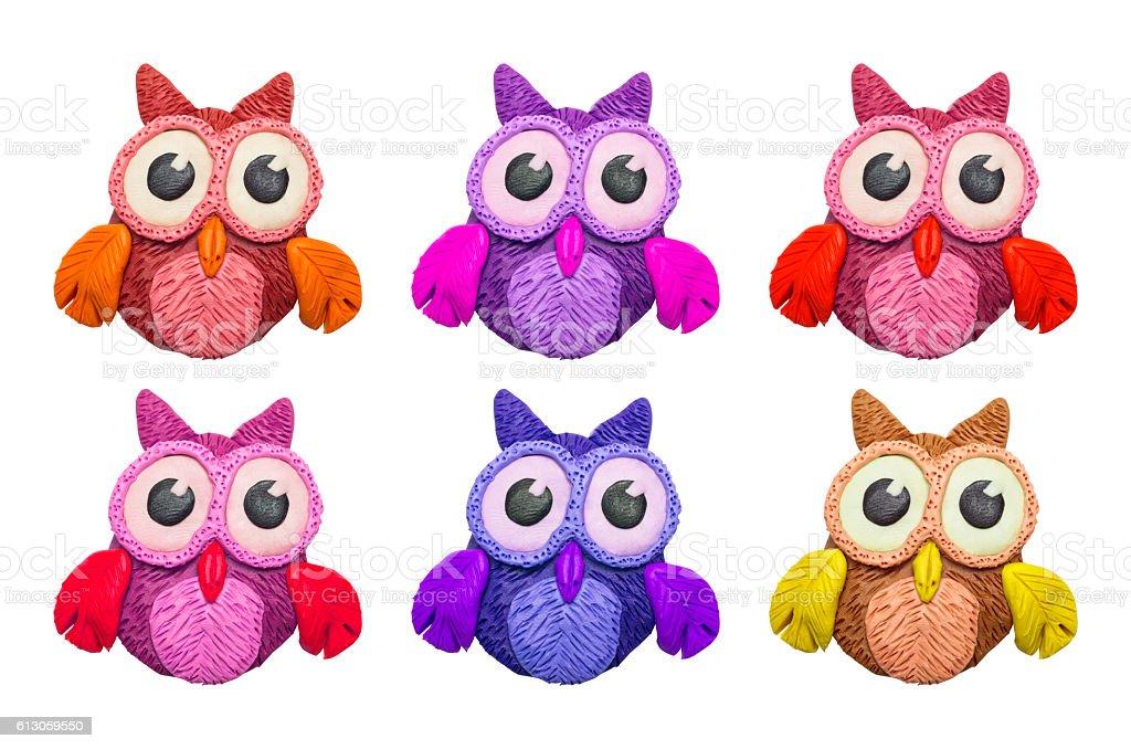 Cartoon clay owls stock photo