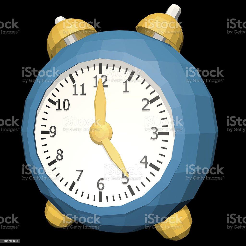 Cartoon clock low poly style stock photo