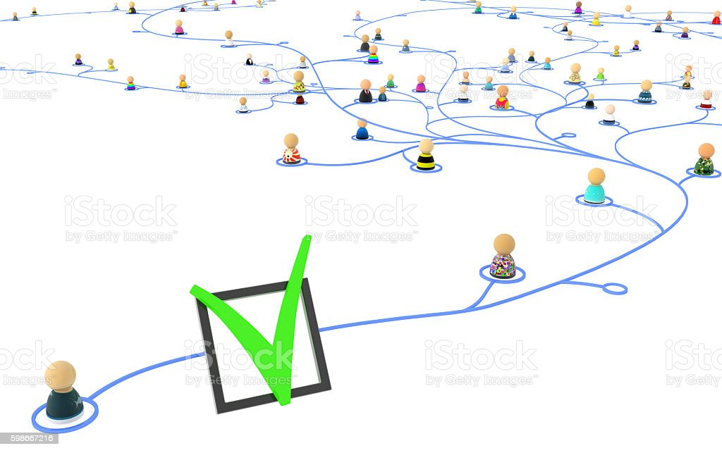 Cartoon Crowd, Check Mark Link stock photo