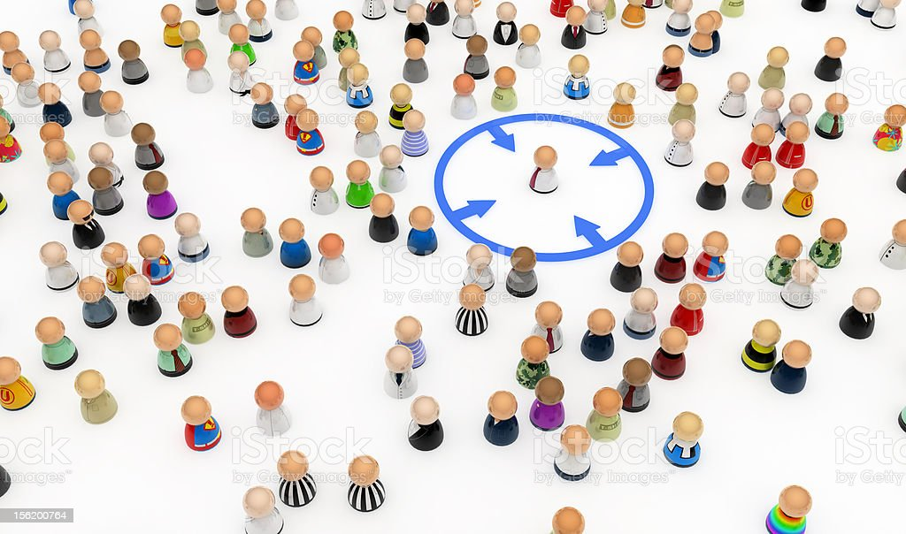 Cartoon Crowd, Circled Out royalty-free stock photo