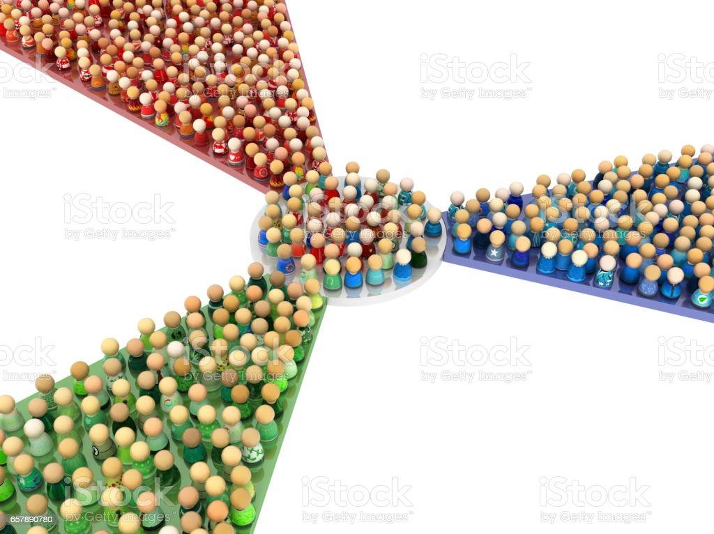 Cartoon Crowd, Colors Mixer stock photo