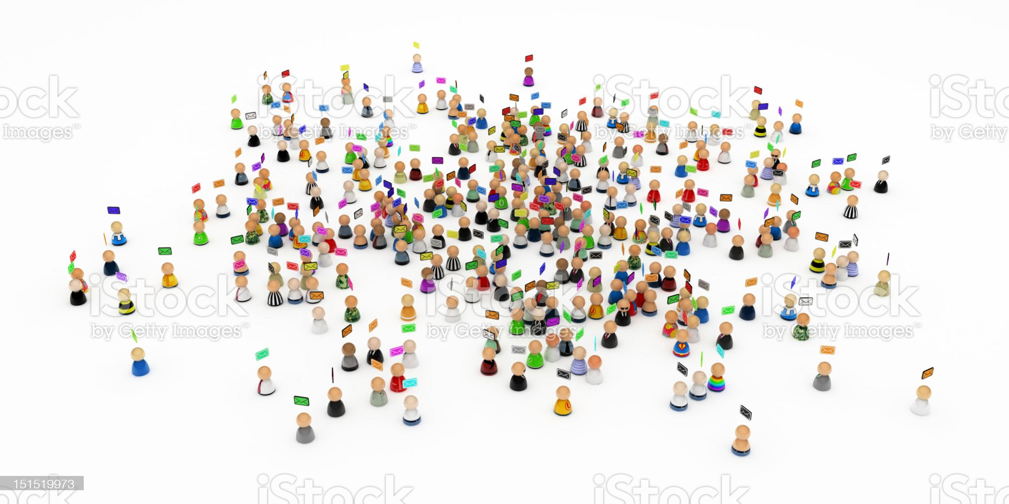 Cartoon Crowd, Emails royalty-free stock photo