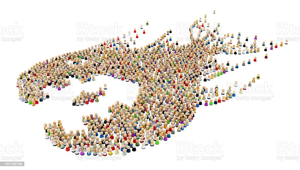Cartoon Crowd, Fish Swallow, Side royalty-free stock photo