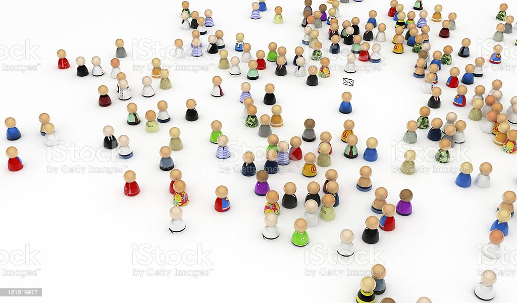 Cartoon Crowd, Mail Recipient royalty-free stock photo