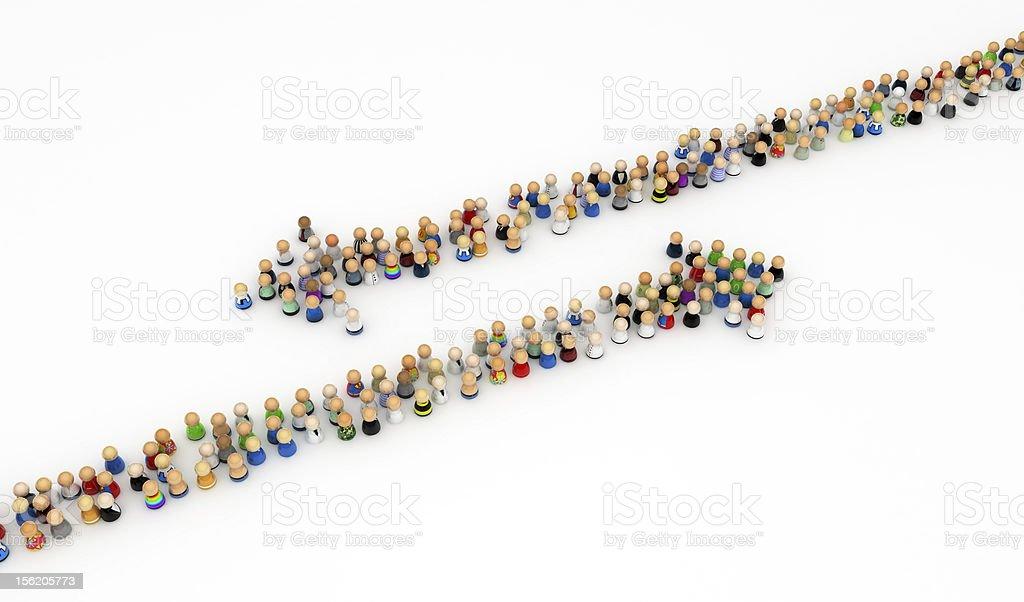 Cartoon Crowd, Opposite Arrows royalty-free stock photo