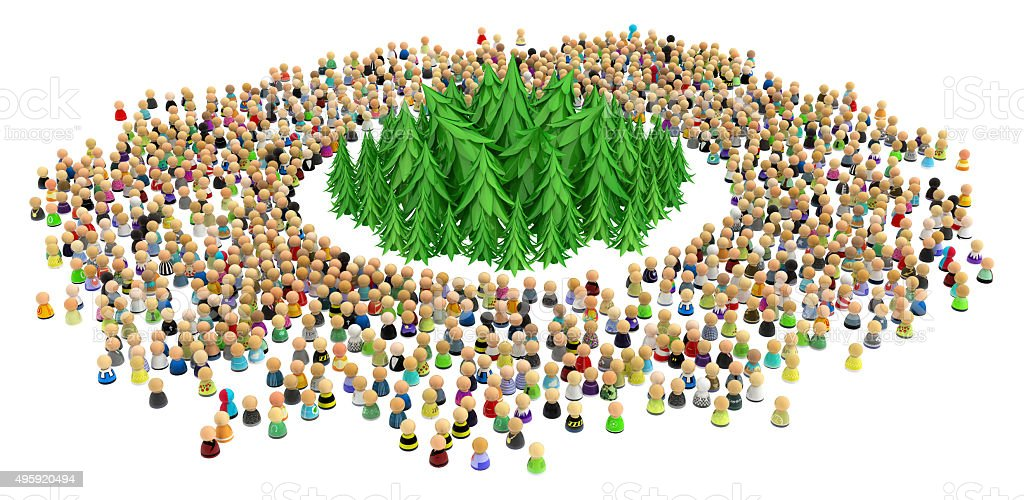 Cartoon Crowd, Surrounded Forest stock photo