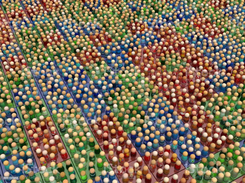 Cartoon Crowd, Three Color Squares stock photo