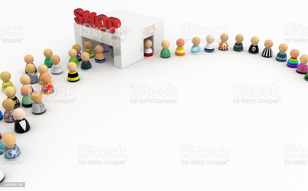 Cartoon Crowd, White Shop stock photo