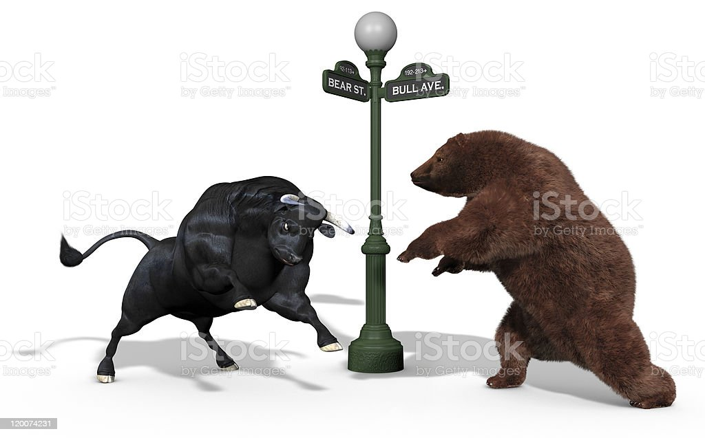 Cartoon depiction of a bear and a bull fighting stock photo