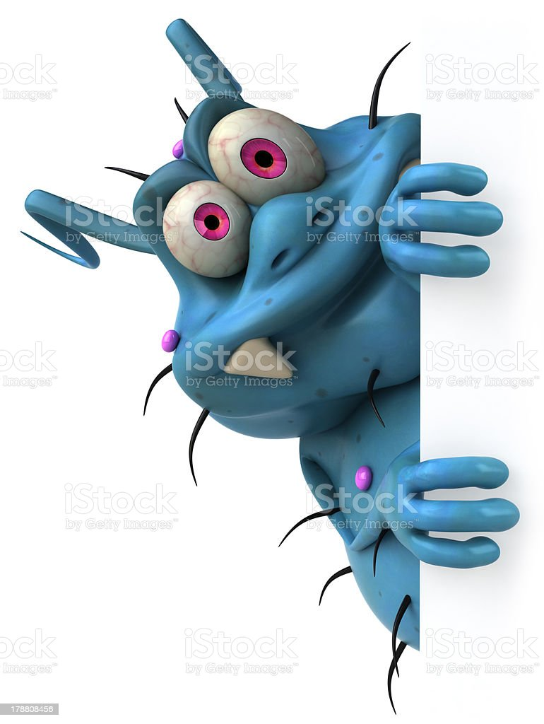 A cartoon depiction of a fun germ stock photo