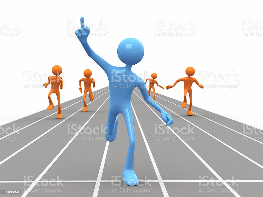 3D cartoon doll winning a race royalty-free stock photo