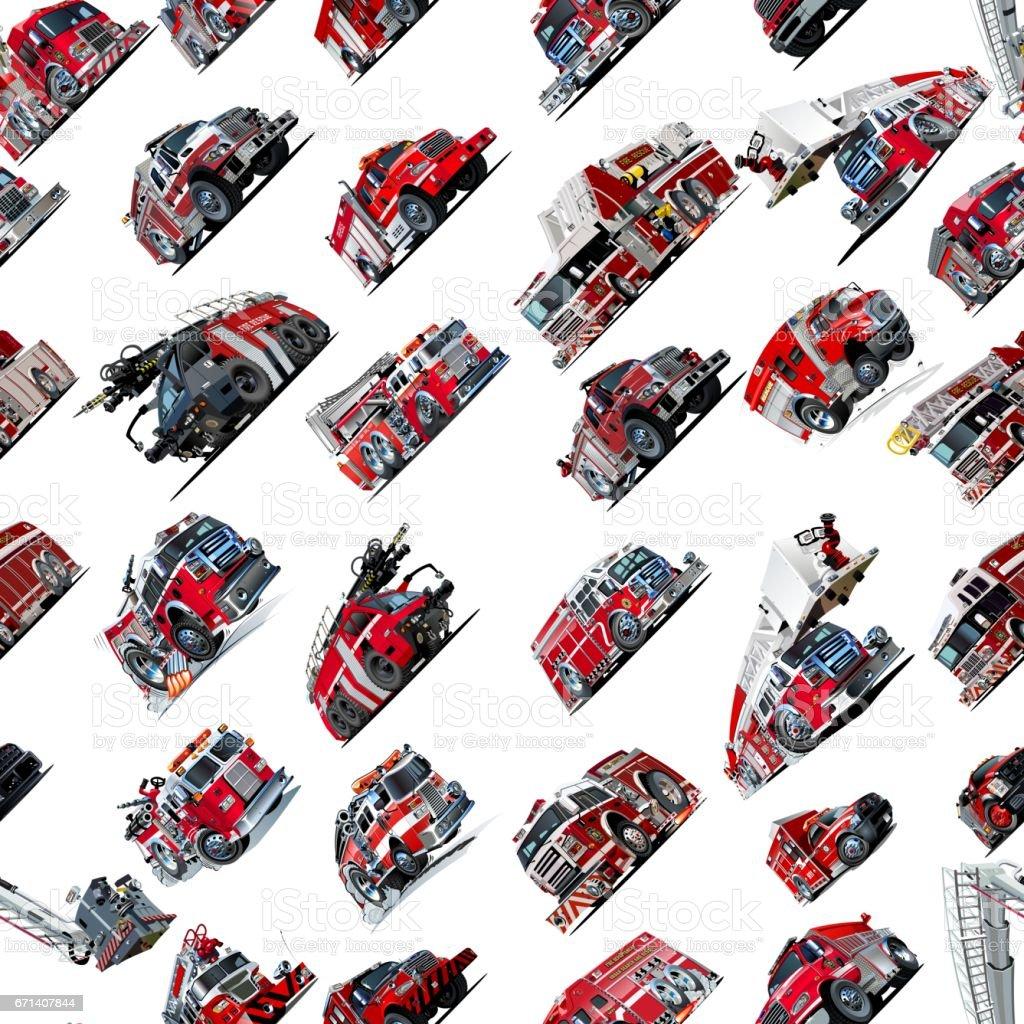Cartoon Fire Truck seamless pattern stock photo