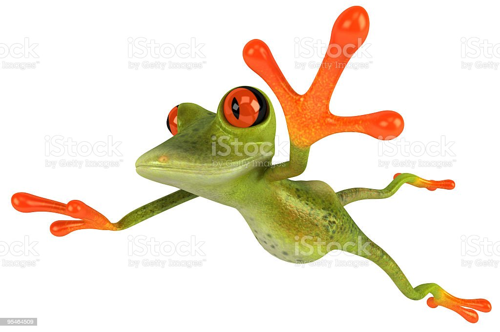 Cartoon frog leaping through the air stock photo