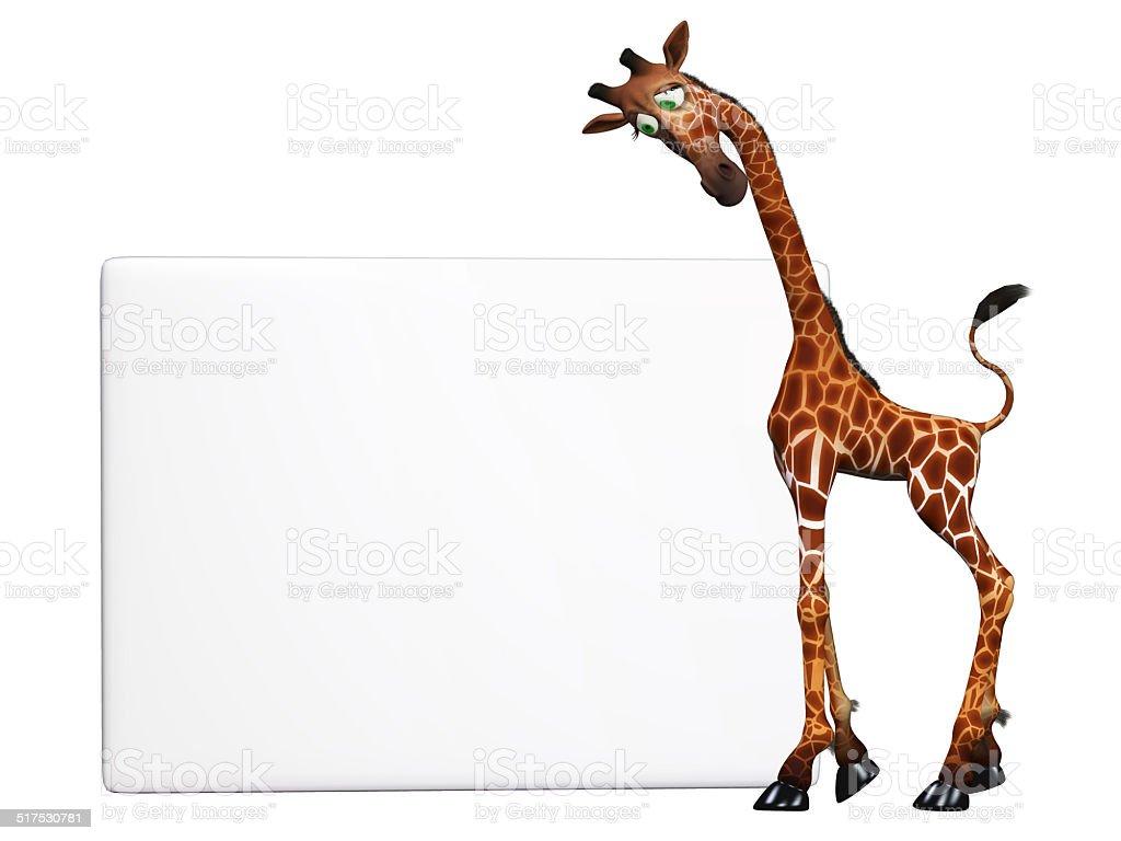 cartoon giraffe with a blank sign stock photo