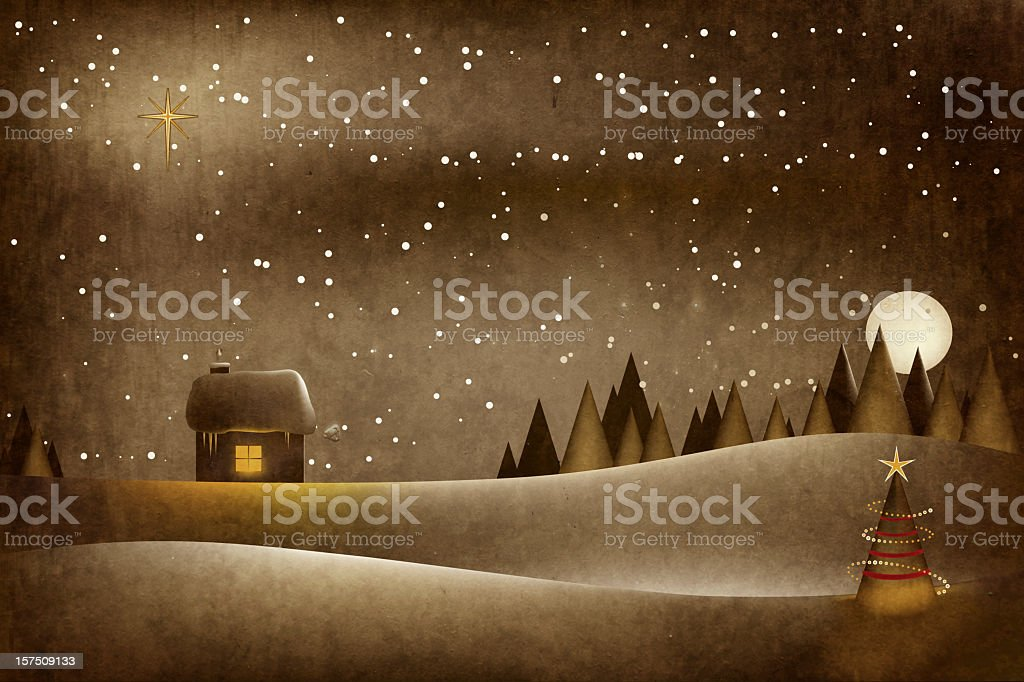 Cartoon illustration of a Christmas exterior shot royalty-free stock vector art