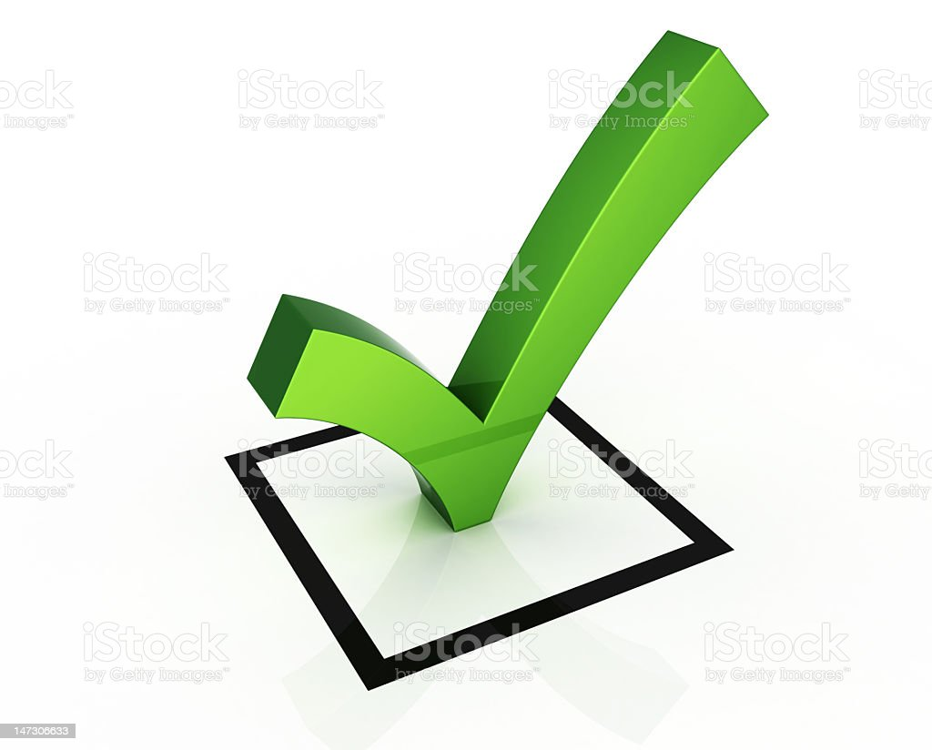 A cartoon image of a green 3D check mark stock photo