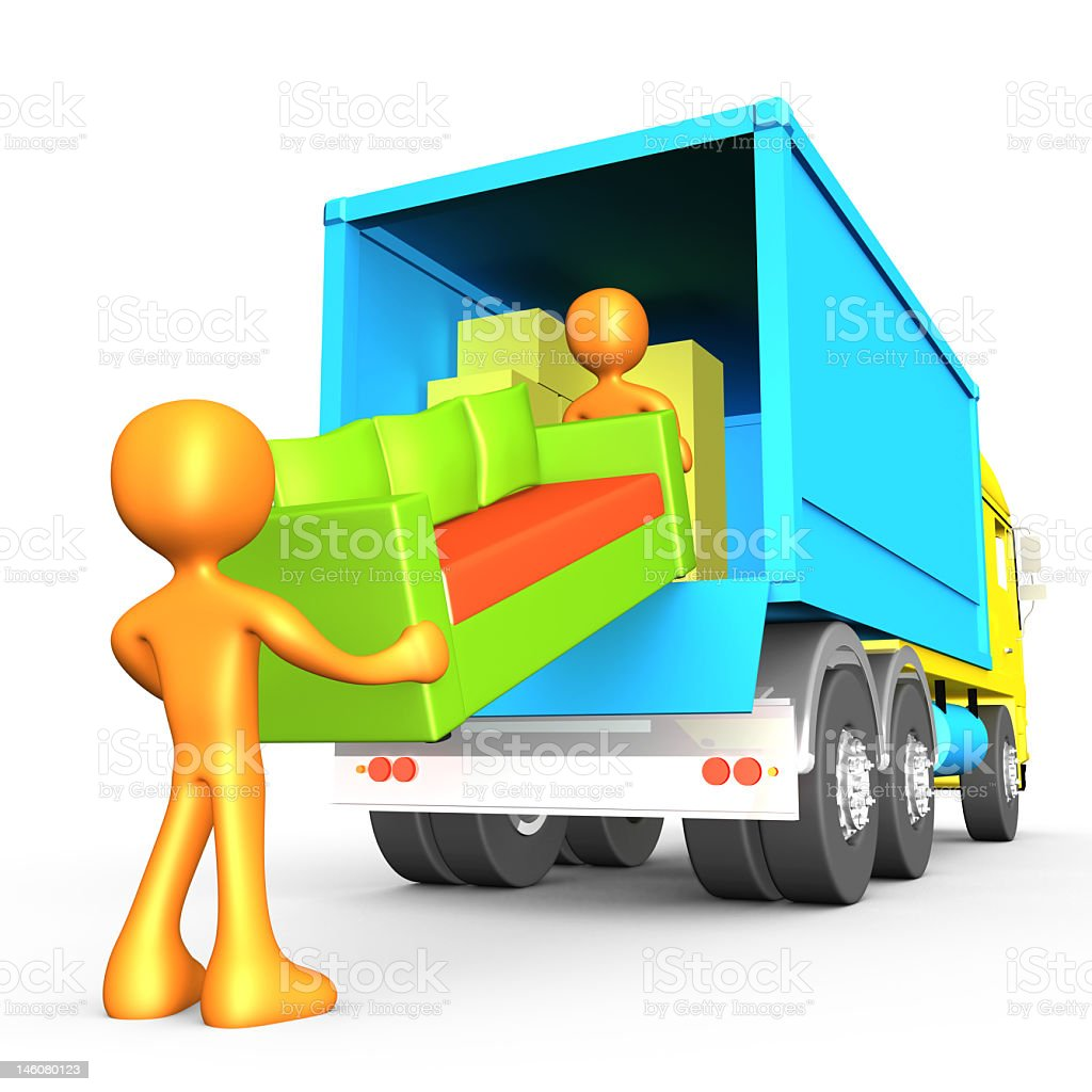 A cartoon image of movers working stock photo