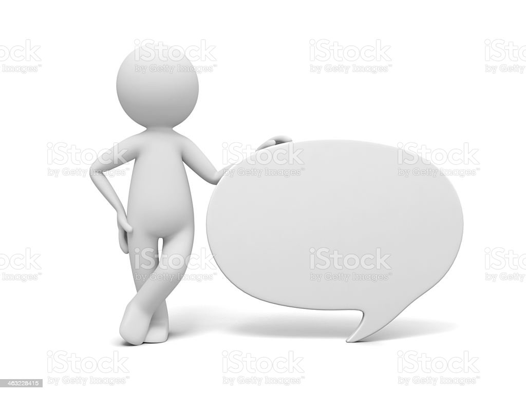 3D cartoon image of person standing next to speech bubble stock photo