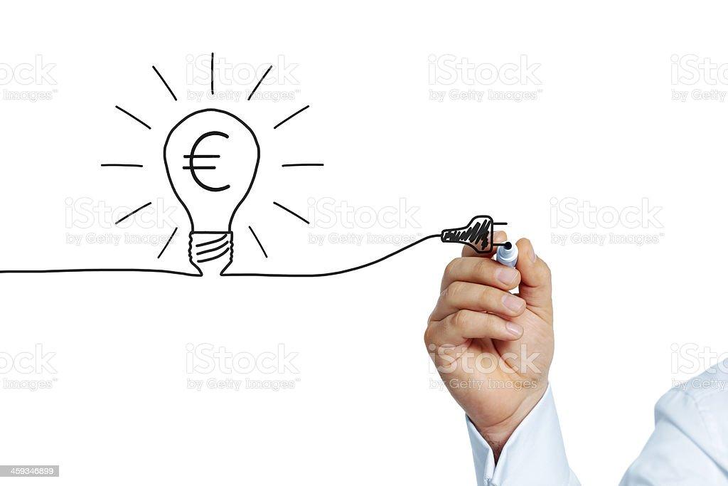 A cartoon lamp with euro symbol stock photo
