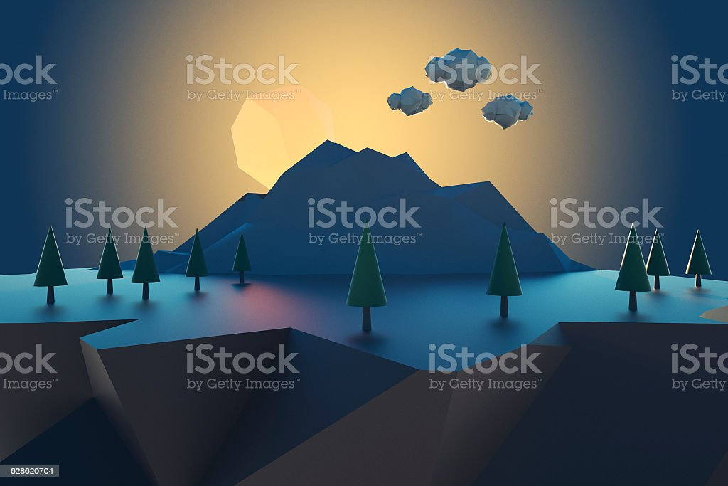 Cartoon low poly floating island at sunset stock photo