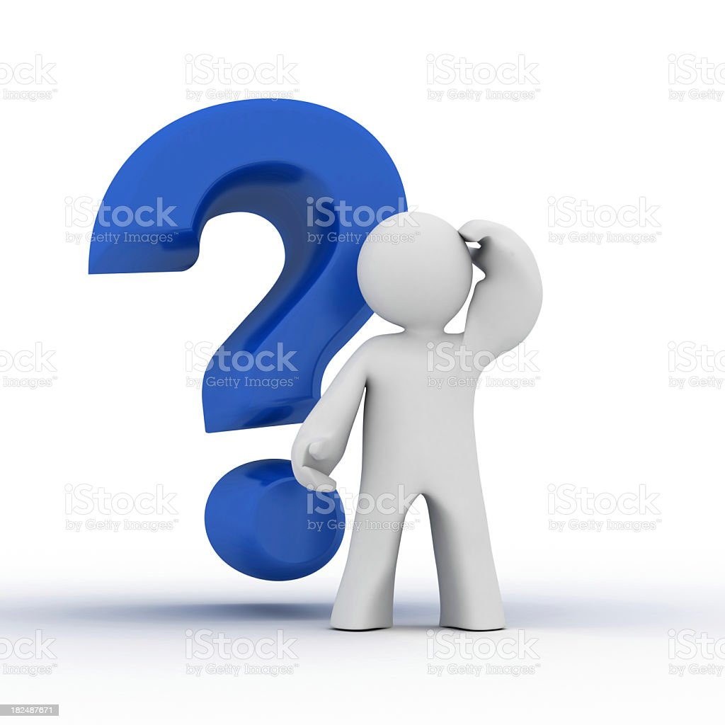 A cartoon man and a question mark stock photo