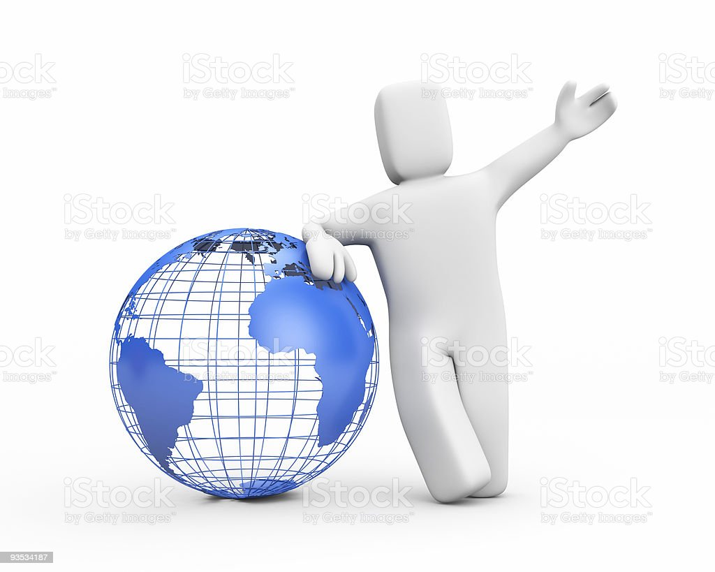 A 3D cartoon man leaning on a globe and waving royalty-free stock photo