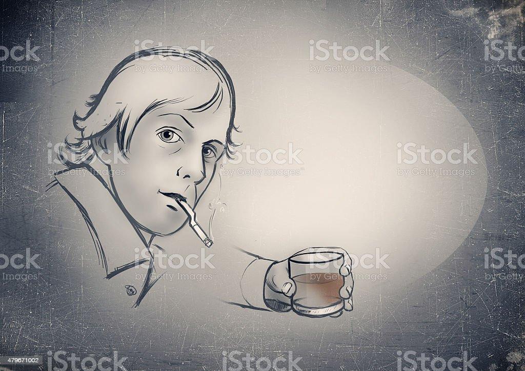 Cartoon man smoking with a drinking whiskey. drawing stock photo