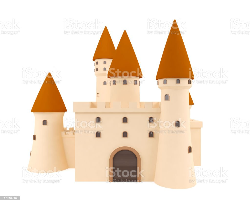 Cartoon medieval castle isolated on white background stock photo