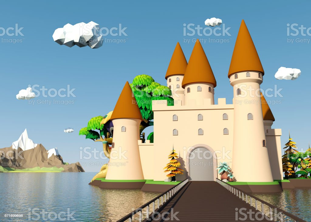 Cartoon medieval castle on island with beautiful landscape stock photo
