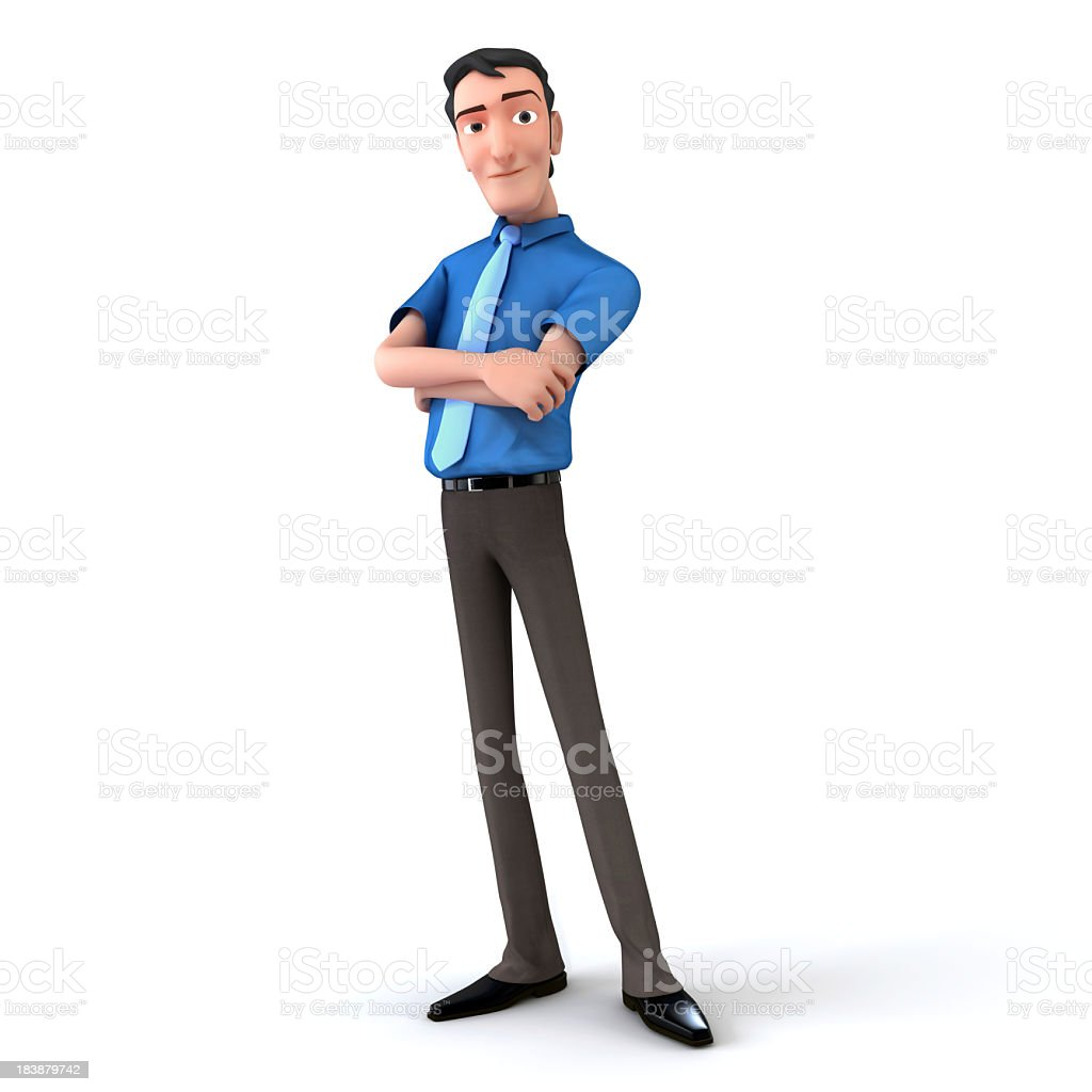 3D cartoon model of a man standing with arms crossed royalty-free stock photo