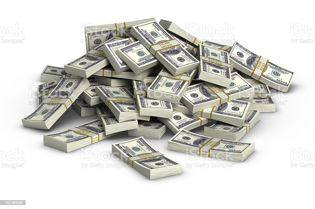 Cartoon of 100 dollar bill stacks piled on top of each other stock photo