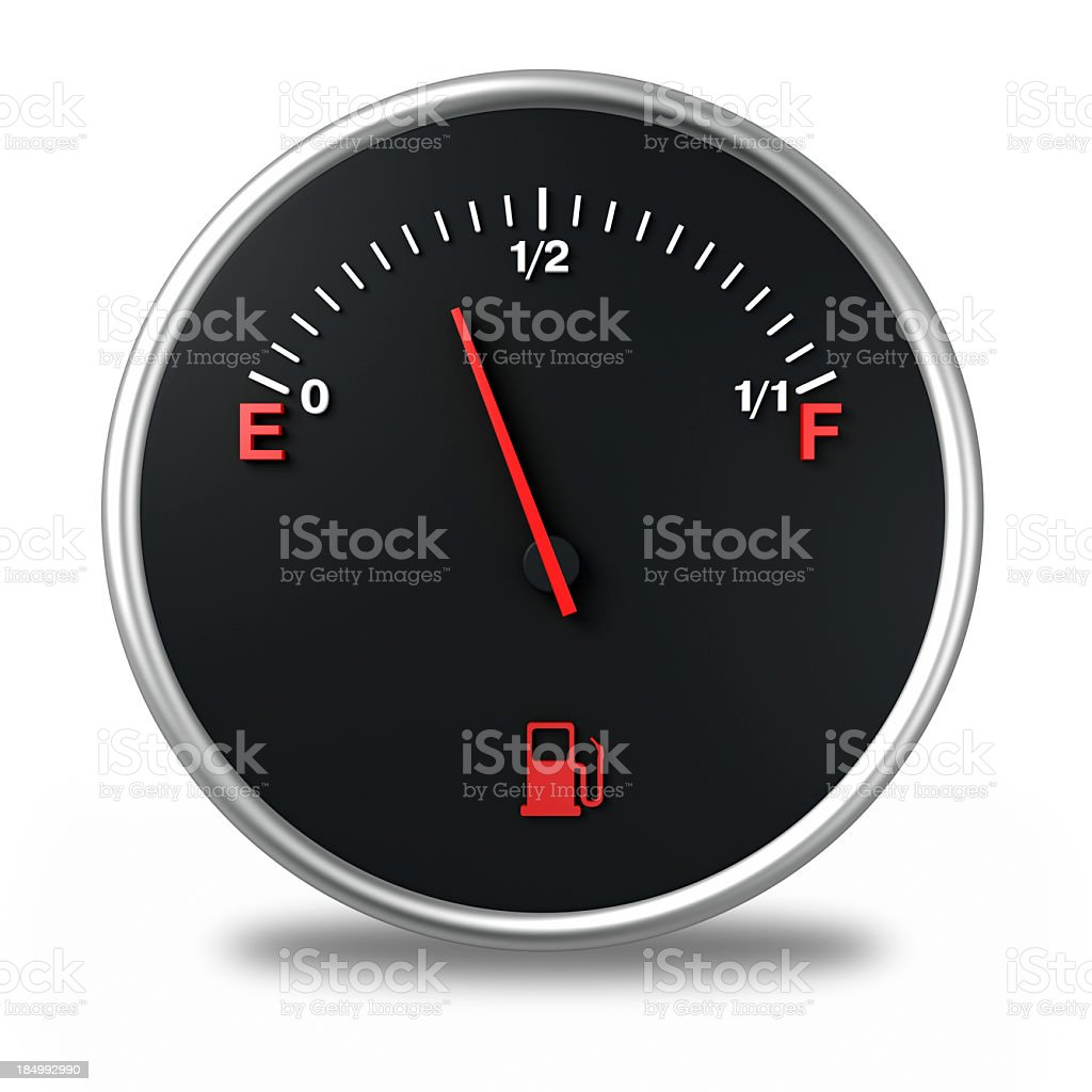 A cartoon of a gas gauge that is almost empty stock photo