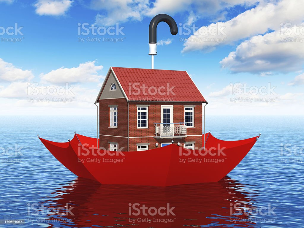 Cartoon of a house inside an umbrella floating in the sea  royalty-free stock photo