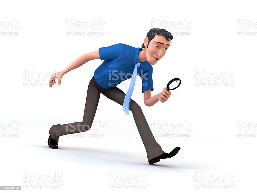 Cartoon of a man with magnifying glass depicting job search royalty-free stock photo